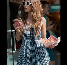 LF black/white lace up cptton gingham romper NWT sz S