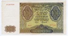Poland 100 Zlotych 1941 crisp VF #104