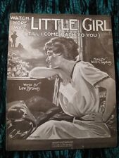 1918 Vintage Sheet Music Watch Hope Wait Little Girl (Till I Come Back To You)