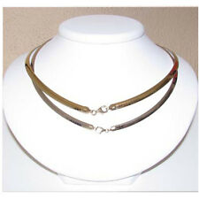 "Sterling Silver & 14k Gold Reversible Omega Necklace.3MM 16"" New-80"