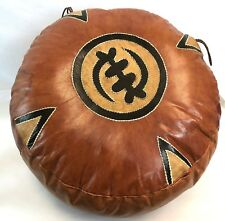 """Vintage 19"""" Tan Black Brown Leather Asian Style Stitched Footstool Poof Ottoman"""