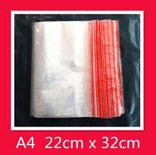 100 A4 220 x 320mm Resealable Zip Lock Plastic Bags Ziplock Clips 22 x 32cm