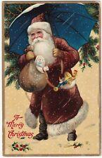 SUPER - Santa Claus GEL Postcard - Germany Maroon Red Coat Christmas 1912 German