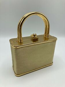 Aftershock Hard Gold Evening Handbag With Handle & Strap