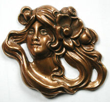 "Hand Craft Brass Button Nouveau Woman w Flowing Hair 1 & 5/8"""