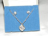 NIB (2006) AVON Silvertone LUMINOUS Crystal Necklace & Earring Set AV5