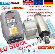 『Ger』 2.2KW CNC Air Cooled Spindle Motor+HY Inverter VFD+80mm Clamp+ER20 Collets