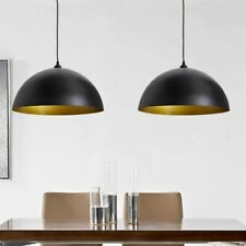 vidaXL 2x Hanglamp Halfrond Metaal Zwart Plafond Lamp Verlichting Hang Licht