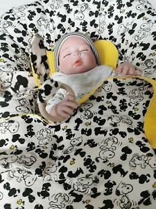 Handmade Baby Nestchen mit Kissen, Decke, Spucktuch,Schnullerkette ,Greifling
