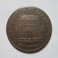 CANADA. BANK OF MONTREAL, 1/2 PENNY TOKEN, 1844.