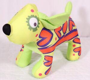 "Gooshies Squooshy Spandex Plush Dog Lime Green w Hearts Appx 15"" Fiesta Easter"
