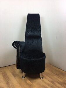 Crushed Velvet Potenza Modern Bedroom Tall Chair