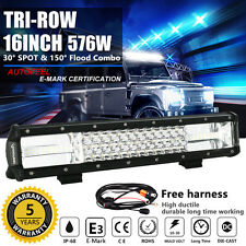 LUMILEDS 16'' inch Tri-Row 576W LED Light Bar Combo Off road Jeep 4WD Truck 14""