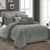 8 Piece Luxury Quilted Embroidered Pattern Microfiber Bedding Sets,King,Grey