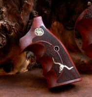 Smith & Wesson k and L Frame grips made from Rosewood and custom Brass Logo.