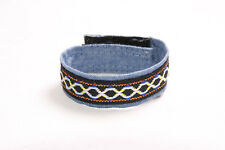 Cute Kids Girls School Day Accessory Denim Blue Patterned Simple Bracelet (S563)