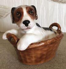 ROYAL DOULTON DOG PUPPY TERRIER SITTING IN A BASKET No HN 2587 PERFECT