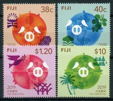 Fiji 2019 MNH Year of Pig 4v Set Chinese Lunar New Year Stamps