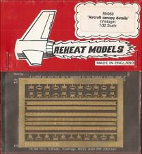 Reheat Models Photo-Etch Vintage Aircraft Canopy Details 1/32 Scale Model Kit