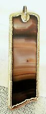 "ARTISAN GOLD TONE BROWNS AGATE RECTANGLE NATURAL STONE 2.75"" LONG PENDANT"