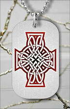 CELTIC RED CROSS DOG TAG NECKLACE PENDANT FREE CHAIN -ijk9Z