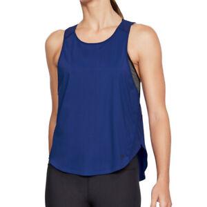 Under Armour UA HeatGear Vivid Keyhole Back Tank Ladies Blue Running Vest