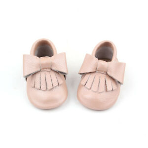 Starbie baby Moccasins Pearl Pink baby shoes toddler moccasin Baby girls bows