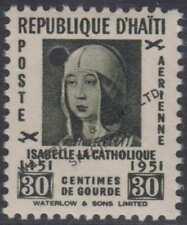"""HAITI 1951 QUEEN ISABELLA I Sc C56 TOP VALUE PERF PROOF + """"SPECIMEN"""" MNH VF RARE"""