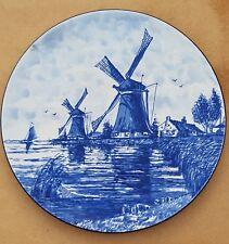 "10"" Delft Blue Plate Wall Charger Windmill Farm Water Boat Dutch scene"