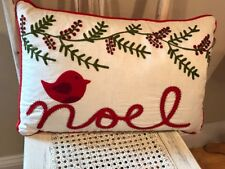 425 South Linen Beaded Embellished Cardinal Noel Christmas Down Filled Pillow