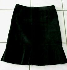 Ideology Audrey 100% Suede leather skirt size 8 Black Ruffled Hem C548
