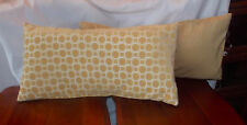Pair of Gold Decorative Print Lumbar Down Filled Throw Pillows  26 x 13