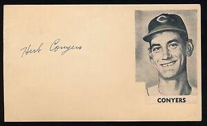 HERB CONYERS (1950 Cleveland Indians) -Autograph 3x5 GPC (d.1964) *RARE*