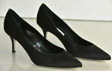 NEW Manolo Blahnik Satin Black BB Pumps Heels Pointed Toe Shoes 40