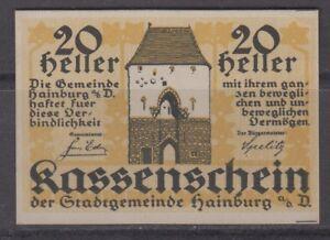 Austria Notgeld Kassenschein der Gemeinde Hainburg 1920 20 Heller Unc
