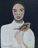 8x10 Print - Woman Wren Bird Release Me Now Print by Katie Jeanne Wood