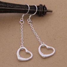 Love Heart Earrings Silver Plated Pair Of Drop Dangle 45mm Drop.Women's