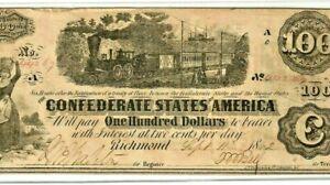 "$100 ""CONFEDERATE"" 1800'S $100 (BLACK TRAIN)  ""BLACK TRAIN"" CRISPY!! BEAUTIFUL!!"