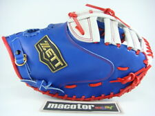 "New ZETT Special Order 13"" First 1st Base Fast Softball Glove Blue White Red RHT"