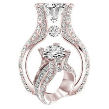 Noble Fashion Women 18K Rose Gold White Sapphire Wedding Proposal Jewelry Ring