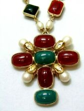 Maltese Cross Necklace Faux Pearl Jade Colored Lucite Cabochons Designer Insprd