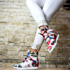"Sneakers  WEDGE HIGH TOP SNEAKERS TRAINERS  Flowers  ::+++""""$+$+$+$"