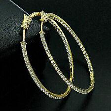2.00Ct Inside-Outside Diamond Solid 14k Yellow Gold Finish Hoop Dangle Earrings