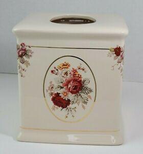 Waverly Vintage Rose Norfolk Ceramic Tissue Box Cover Gold Shabby Cottage 6x6