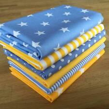 YELLOW & PASTEL BLUE spots stars stripes fabric Fat Quarter Bundle 100% cotton