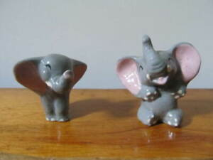 VINTAGE DISNEY 2 PORCELAIN DUMBO ELEPHANT FIGURINES,