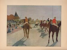 "1951 Vintage DEGAS ""AT THE RACE COURSE"" HORSE RACING COLOR Art Print Lithograph"