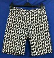 WOMYN Women's Stretch Cotton Blend BERMUDA FLORAL GOLF Shorts Black/White Sz 12