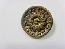 1800s antique collector museum gold tone metal Sunflower buds button 49199