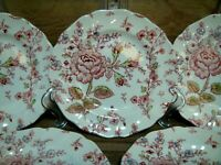 "SET OF 6 - JOHNSON BROTHERS IRONSTONE - ROSE CHINTZ - 6 1/4"" BREAD SIDE PLATES"